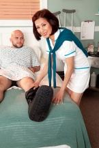 Nurse Kim heals the sick, fucks the immense hard-on