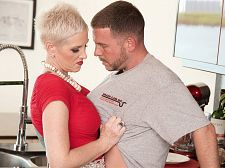 Kimber bonks the plumber. Her hubby watches.